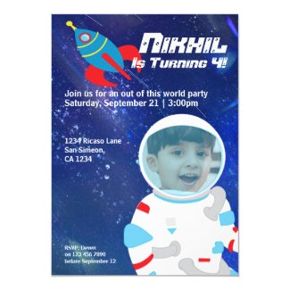 Spaceman Astronaut Outer Space Birthday Invitation