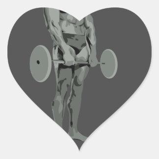spaceman bodybuilder heart sticker