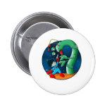 Spaceman & Dinosaur Worm 2 Inch Round Button