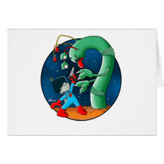 Spaceman Dinosaur Worm Greeting Card
