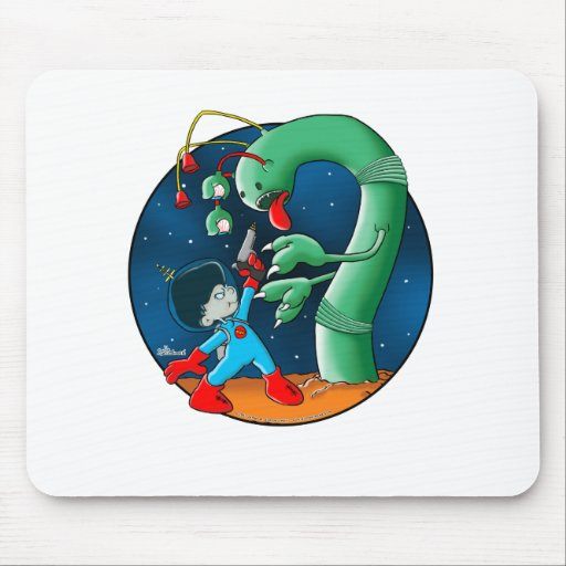 Spaceman & Dinosaur Worm Mouse Pad