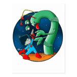 Spaceman & Dinosaur Worm Postcard