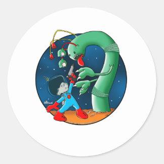 Spaceman & Dinosaur Worm Classic Round Sticker