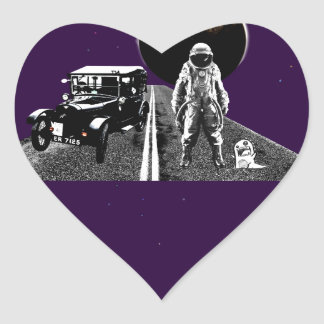 Spaceman Hitch-Hiker Heart Sticker