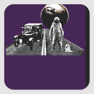 Spaceman Hitch-Hiker Square Sticker