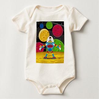 Spaceman & Mecha Robot on Planet Surface Baby Bodysuit