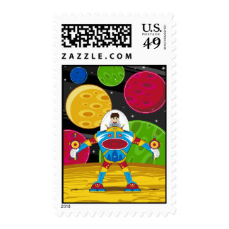 Spaceman & Mecha Robot on Planet Surface Stamps