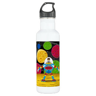 Spaceman & Mecha Robot on Planet Surface Water Bottle