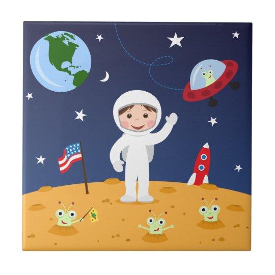 Spaceman on mars cute cartoon tile/gift box ceramic tile