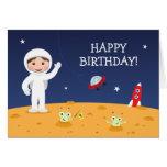 Spaceman on Mars Happy birthday greeting card