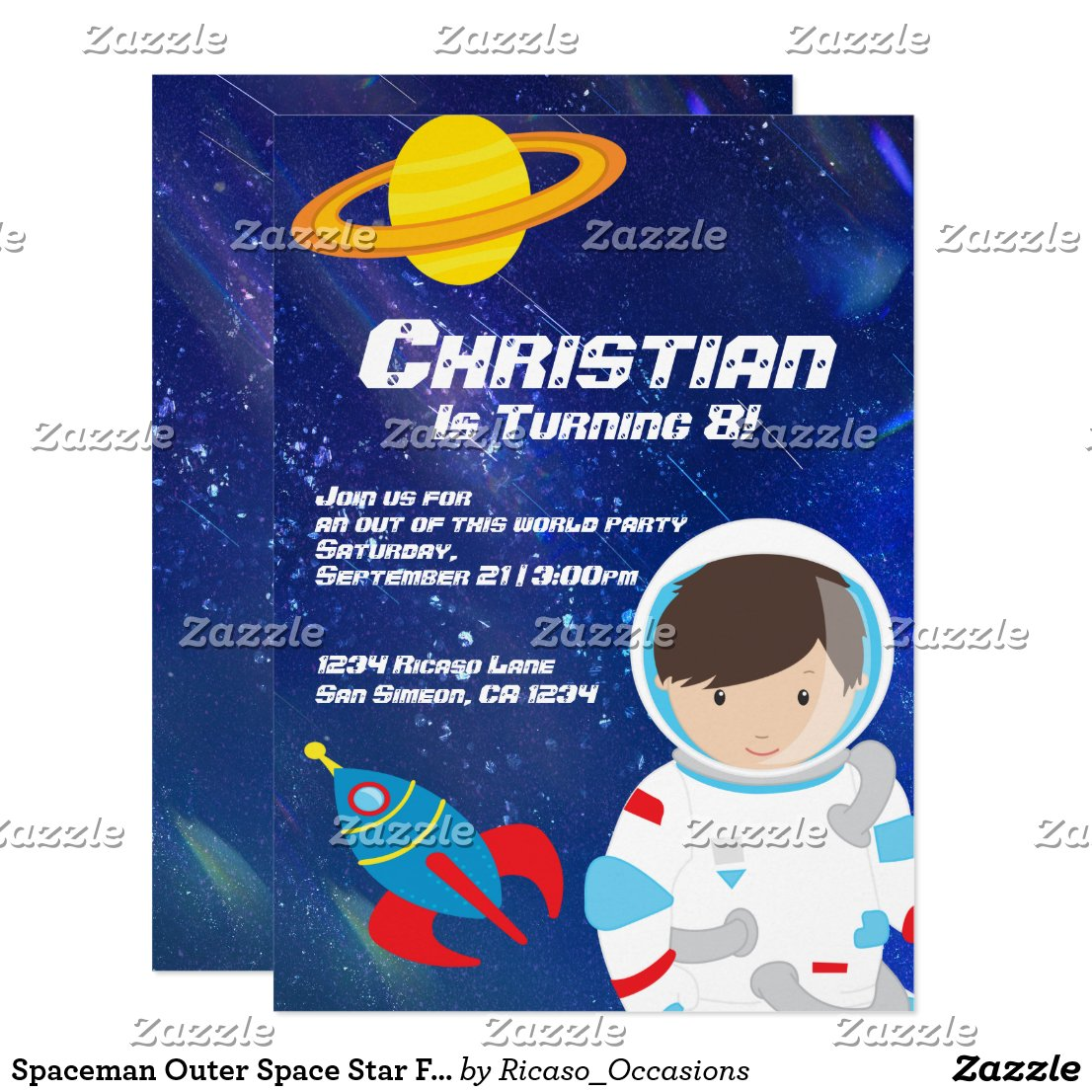 Spaceman Outer Space Star Filled Sky Birthday Card