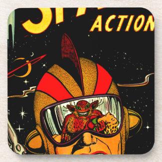 Spaceman Sci-Fi Astronaut Comic Art Drink Coaster