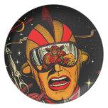 Spaceman Sci-Fi Astronaut Comic Art Melamine Plate