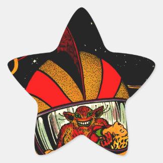 Spaceman Sci-Fi Astronaut Comic Art Star Sticker