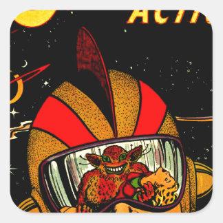 Spaceman Sci-Fi Astronaut Comic Art Square Sticker