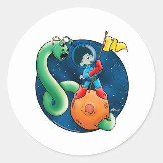 Spaceman & Worm Classic Round Sticker
