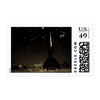 Spacemen and Rocketship Postage
