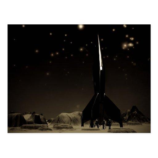 Spacemen and Rocketship Postcard