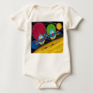 Spacemen Flying Spaceship over Planet Baby Bodysuit