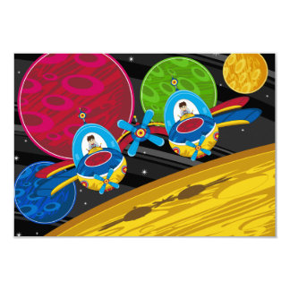 Spacemen Flying Spaceship over Planet Card