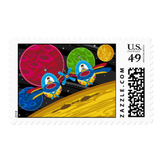 Spacemen Flying Spaceship over Planet Postage