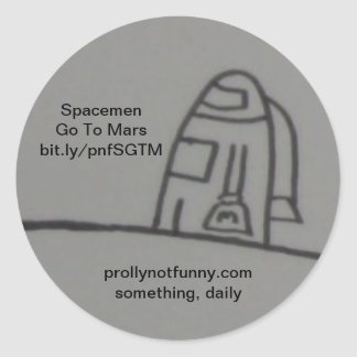 Spacemen Go To Mars Round Sticker