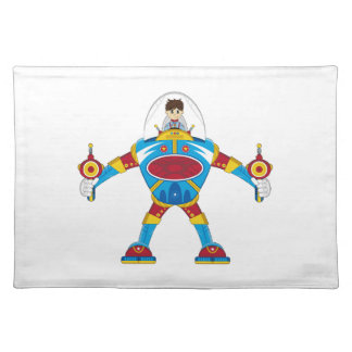 Spacemen In Giant Mecha Robot Cloth Placemat