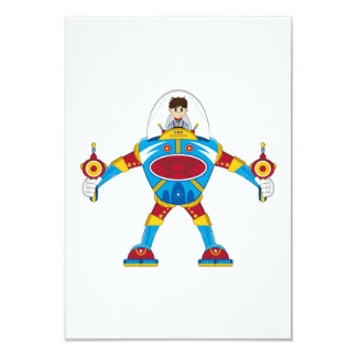 "Spacemen In Giant Mecha Robot 3.5"" X 5"" Invitation Card"