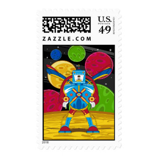 Spacemen In Giant Mecha Robot Postage Stamp