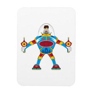 Spacemen In Giant Mecha Robot Rectangle Magnet
