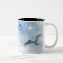 water, sea, sea gull, birds, light, architecture, tower, fog, houk, illustration, digital art, digital realism, surreal, surreal art, fantasy, gifts, gift, eerie, gothic, mood, mysterious, mystery, mystic, atmospheric, imaginative, landscape, cool mugs, cute mugs, mug, mugs, bestseller, best selling, towers, Mug with custom graphic design