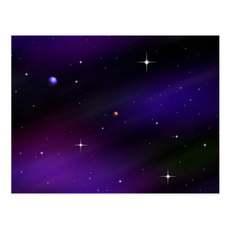 Spacescape With Planets and Stars Postcard