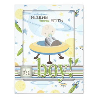 Spaceship Astronaut Baby Shower Invitations