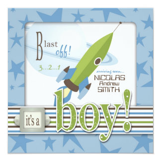 Spaceship Baby Shower Invitation