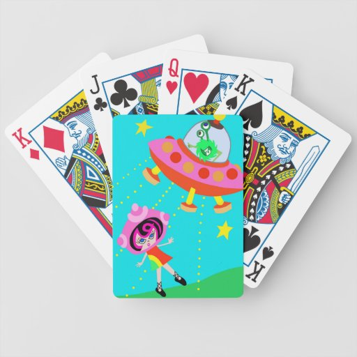 Spaceship Betty and an  Alien Invasion Playing Cards