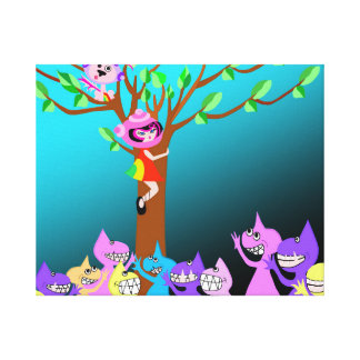 Spaceship Betty and Bubblegum Are Up A Tree Canvas Print