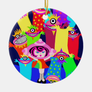 spaceship Betty and the Magical Monsters Ceramic Ornament