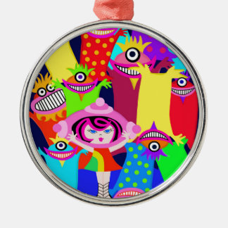 spaceship Betty and the Magical Monsters Metal Ornament