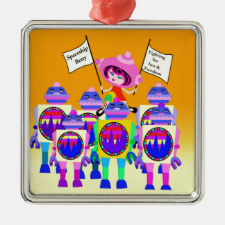 Spaceship Betty  March of the Robots Metal Ornament