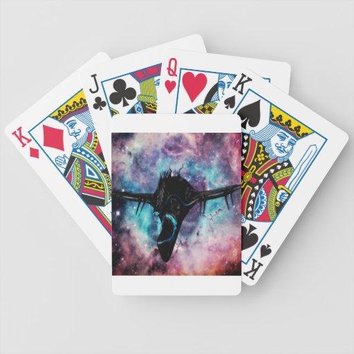 spaceship black bicycle playing cards
