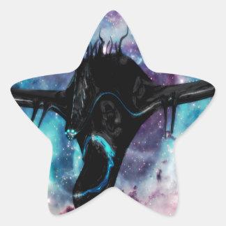 spaceship black star sticker