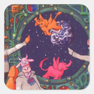 Spaceship Cow Square Sticker