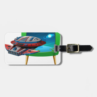 Spaceship flying in the space on TV Bag Tag