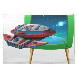 Spaceship flying in the space on TV Placemat