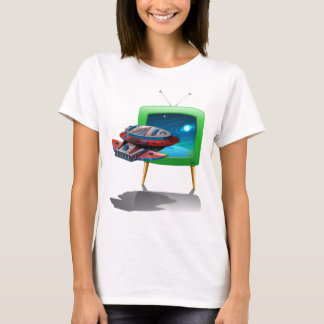 Spaceship flying in the space on TV T-Shirt