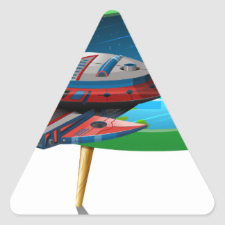 Spaceship flying in the space on TV Triangle Sticker