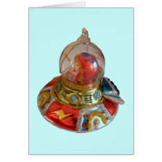 Spaceship Glass Christmas Ornament Card at Zazzle