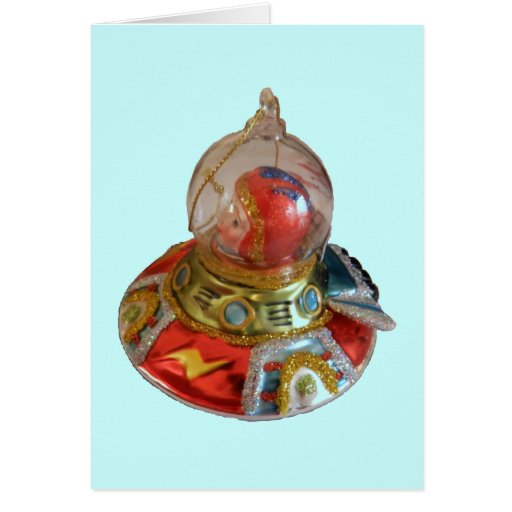 Spaceship glass christmas ornament card zazzle