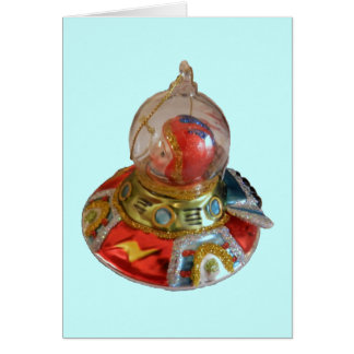 Spaceship Glass Christmas Ornament Greeting Card