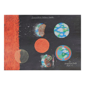 Spaceship Hollow Earth art Poster